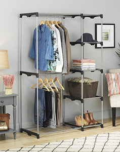 Whitmor Double Rod Closet, Freestanding Silver / Black - zingydecor