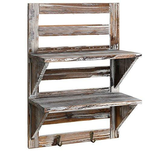Image of MyGift Rustic Wood Wall Mounted Organizer Shelves w/ 2 Hooks, 2-Tier Storage Rack