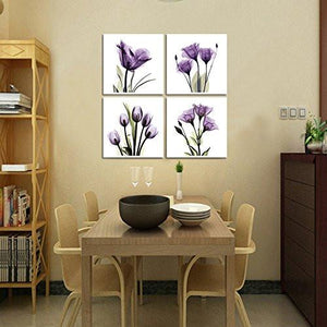 HLJ ART 4 Panel Elegant Tulip Purple Flower Canvas Print Wall Art Painting For Living Room Decor And Modern Home Decorations Photo Prints 12x12inch(Wood Framed) - zingydecor
