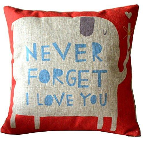 CoolDream Animal Style Lovely Cartoon Red Elephant Pass Love Letters Sofa Simple Home Decor Design Throw Pillow Case Decor Cushion Covers Square 18*18 Inch Beige Cotton Blend Linen - zingydecor