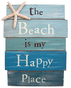 "The Beach Is My Happy Place - Plank Board Sign with Starfish and Rhinestone Accents 12"" X 9"" - zingydecor"