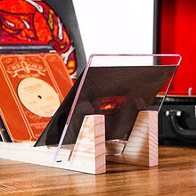 "Vinyl Record Storage - Solid Wood with Crystal Clear Acrylic Holder - Premium Design, Perfect 12"" LPs or 7"" Singles Display Unit - Stores and Supports up to 50 Albums (Natural) - zingydecor"
