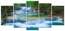 Load image into Gallery viewer, Peaceful Waterfall Modern 5 Piece Stretched and Framed Artwork Giclee Canvas Prints Green Landscape Pictures Paintings on Canvas Wall Art for Living Room Bedroom Home Decorations