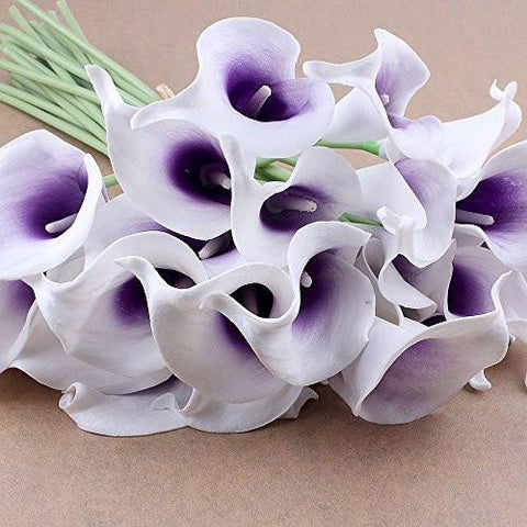Image of 20pcs Calla Lily Bridal Wedding Bouquet head Latex Real Touch Flower Bouquets(Purple)