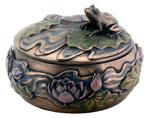 Frog Sitting on Lily Decoration Art Nouveau Design Jewelry Box - zingydecor