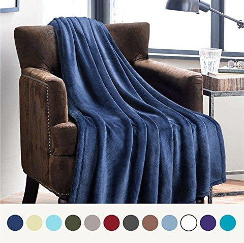 Image of Flannel Fleece Luxury Blanket Blue Navy Throw Lightweight Cozy Plush Microfiber Solid Blanket by Bedsure