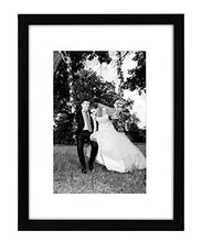 Load image into Gallery viewer, 12x16 Black Picture Frame - Matted to Fit Pictures 8x12 Inches or 12x16 Without Mat - Glass Front - Hanging Hardware Included - zingydecor