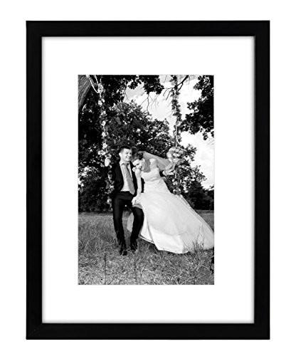 12x16 Black Picture Frame - Matted to Fit Pictures 8x12 Inches or 12x16 Without Mat - Glass Front - Hanging Hardware Included - zingydecor