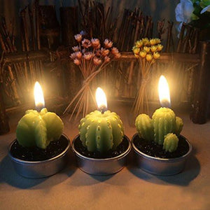 Ornerx Decorative Cactus Candles Tea Light Candles 6 Pcs - zingydecor