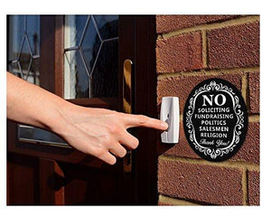 "No Soliciting Sign for Home and Business | Stylish Laser Cut Oval 5"" X 4"" Heavy Duty Sintra PVC 