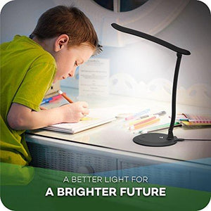 TaoTronics Eye-Care Desk Lamp for Kids - Easy One-Touch Operation Table Lamps Dimmable Brightness, Adjustable Arm, LED Panel - zingydecor