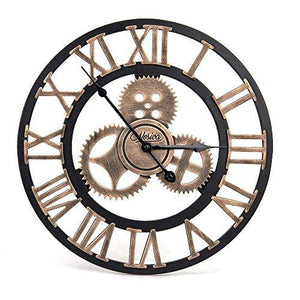 Industrial Wall Clock Handmade 3D Wooden Gear Clock Large Rustic Decorative Wall Clock Big European Retro Vintage Clock Wall Decor for Retro Style Living Room / Office / Bar / Restaurant Decoration