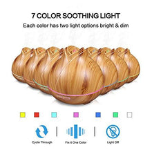 Load image into Gallery viewer, Aroma Essential Oil Diffuser, MZvul 400ml Ultrasonic Cool Mist Humidifier Aromatherapy Diffuser with 7 Color LED Lamps, Adjustable Mist Mode, Waterless Auto Shut-Off for Home Yoga Office Spa Baby Room - zingydecor