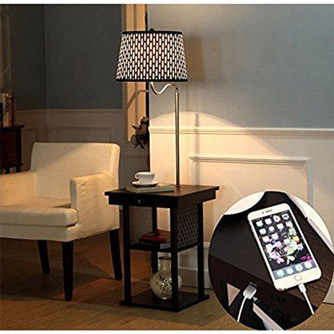 Image of Brightech Madison LED Floor Lamp Swing Arm Lamp w/ Shade & Built In End Table & Shelf, Includes 2 USB Ports & 1 US Electric Outlet – Bedside Table Lamp for Bedroom & Side Table Lamp for Living Room