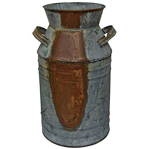 "CWI Gifts Milk Can, Galvanized Finish - Country Rustic Primitive Jug Vase by H.S., 10-3/4"" L"