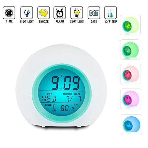 Alarm Clock for Kids, Vekey Wake Up Clock Night Light Digital Alarm Clock Glowing LED Backlight Alarm Clocks for Bedrooms and Office Desk - zingydecor