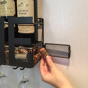 Wall Mounted Metal Wine Rack 4 Long Stem Glass holder & Wine Cork Storage By Soduku - zingydecor