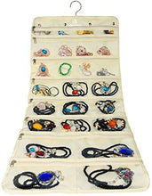 Premium Hanging Jewelry Organizer By Freegrace - Revolving Hanger - Secure Zipper Closure - 50 Pockets/Two-side Pockets - Foldable Storage & Display Solution - Perfect For All Jewelry & Bijoux - Beige - zingydecor