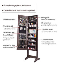 Load image into Gallery viewer, Jewelry Organizer Jewelry Armoire,Full Length Mirror Lockable Jewelry Cabinet, with Large Storage Capacity, 3 Angles Adjustable, Brown