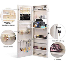 Load image into Gallery viewer, TWING Jewelry Cabinet Wall Door Mounted Lockable Jewelry Armoire Organizer with Full-Length Mirror (White)