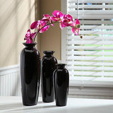 Hosley's Set of 3 Black Ceramic Vases in Gift Box. Ideal for Wedding or Special Occasions Gift; for use in Home Office, Decor, Floor Vases, Spa, Aromatherapy settings