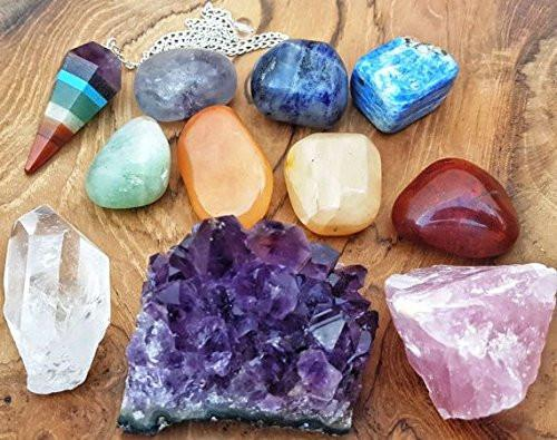 11 pcs Chakra Crystal Healing Kit Lot of 7 Chakra tumbles, Chakra Pendulum, Amethyst Cluster, Raw Rose Quartz, and Crystal Point Bohemian Meditation Set - zingydecor