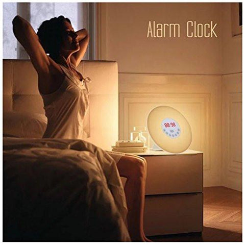 Image of HBlife Colored Wake Up Light Alarm Clock, Sunrise Simulation Dusk Fading Night Light, Atmosphere Lamp with 7 Nature Sounds, FM Radio, Touch Control and USB Charger