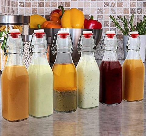 Image of Estilo Swing Top Easy Cap Clear Glass Bottles, Square, 8.5 oz, Set of 6