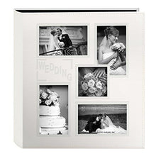 "Pioneer Collage Frame Embossed ""Wedding"" Sewn Leatherette Cover Photo Album, Ivory - zingydecor"