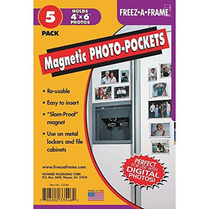 "Clear Magnetic Photo Frames For Refrigerator 4"" x 6"" (Pack of 5), Freez-A-Frame - zingydecor"