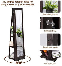 Load image into Gallery viewer, TWING Jewelry Organizer Jewelry Cabinet 360 Rotating, Lockable Standing Wall Jewelry Armoire with Full Length Mirror Large Jewelry Armoire Cabinet(Brown)