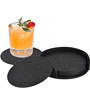 Coasters,Classic Pattern Faux Leather Drink Coasters set of 6 with Holder for Coffee Drinks by Happydavid (black round) - zingydecor