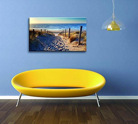 Image of Footprints beach Wall Art oil Paintings Printed Pictures Stretched for Home Decoration
