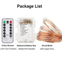 Load image into Gallery viewer, GDEALER 2 Pack Fairy Lights Fairy String Lights Battery Operated Waterproof 8 Modes 60 LED 20ft String Lights Copper Wire Firefly Lights Remote Control for DIY Wedding Party Dinner (Warm White) - zingydecor
