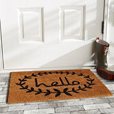 "Home & More 121812436 Calico Hello Doormat, 24"" x 36"" x 0.60"", Natural/Black"