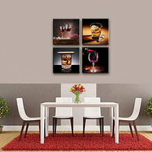 "Home Decor Canvas Wall Art -4 Panels Canvas Prints Wine Pictures "" Wine & Whisky"" Framed Wine Wall Art for Home Decorations"