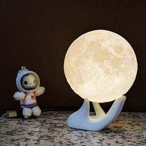 Mydethun Moon Lamp Moon Light Night Light USB Charging and Touch Control Brightness 3D Printed Warm and Cool White Lunar Lamp - zingydecor