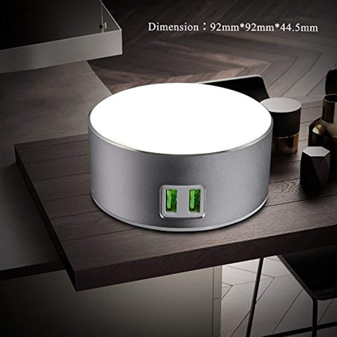 Image of USide Smart LED Desk Lamp,Phone charger,Dimmable Bedside Lamp / Nightstand Lamp with 3-Level Brightness,Touch-Sensitive Control, Built-in 2 USB Smart Charging Port, SILVER
