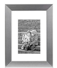 Load image into Gallery viewer, 8x10 Silver Picture Frame - Made to Display Pictures 5x7 with Mat or 8x10 Without Mat - Real Glass - Standing Hardware Included - zingydecor