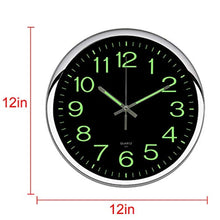 Load image into Gallery viewer, OCEST Wall Clock, 12 Inch Silent Non-Ticking Quartz Wall Clock with Night Light Large Display Battery Operated for Indoor Kitchen Office Bathroom Living Room Garage(Silver) - zingydecor