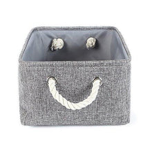 TheWarmHome Collapsible rectangular baskets for storage laundry basket with rope handles - zingydecor