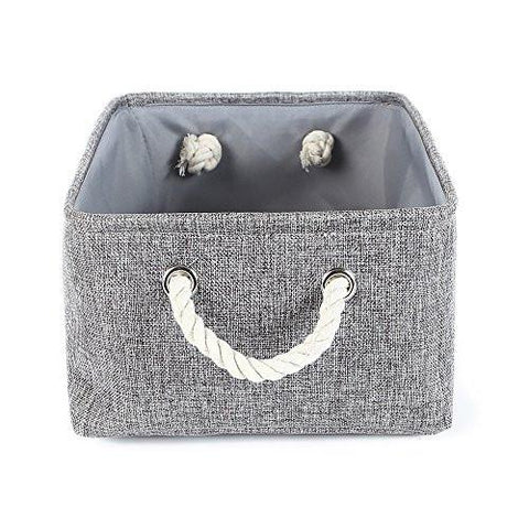 Image of TheWarmHome Collapsible rectangular baskets for storage laundry basket with rope handles