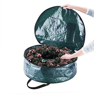 "Elf Stor Premium Green Holiday Christmas Wreath Storage Bag For 24"" Inch Wreaths - zingydecor"