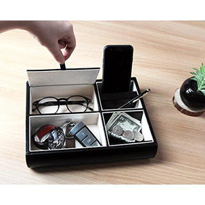 Jack Cube Valet Tray Leather, Desk or Dresser Organizer, Catch-all for Keys, Phone, Wallet, Coin, Jewelry, and More (10.34 x 2.15 x 8.19 inches) - MK158