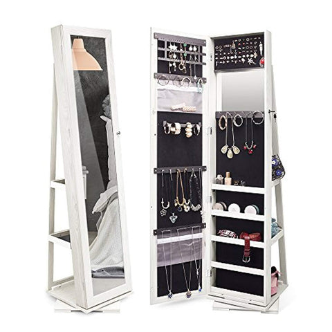 Image of TWING Jewelry Organizer Jewelry Cabinet 360 Rotating, Lockable Standing Wall Jewelry Armoire with Full Length Mirror White (White)