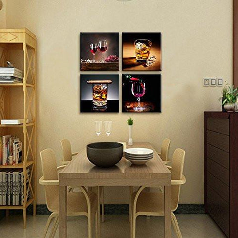 Home Decor Canvas Wall Art 4 Panels Prints Wine Pictures Whisky
