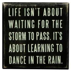 Primitives By Kathy Box Sign, Dance In The Rain, 4x4 Inch - zingydecor
