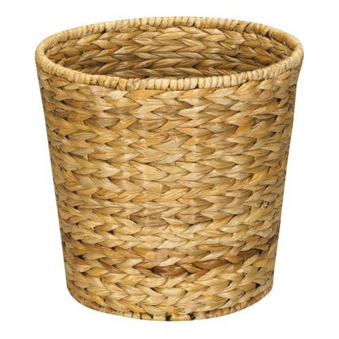 Image of Household Essentials ML-6692 Woven Water Hyacinth Wicker Waste Basket - For Bathrooms & Bedrooms - Natural