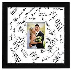 14x14 Wedding Signature Picture Frame - Matted to Fit Pictures 5x7 Inches or 14x14 Without Mat - Made with Glass