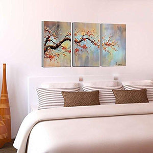 "Modern 100% Hand Painted Flower Oil Painting on Canvas ""Orange Plum Blossom"" 3-Piece Gallery-Wrapped Framed Wall Art Ready to Hang for Living Room for Wall Decor Home Decoration 24x48inches - zingydecor"